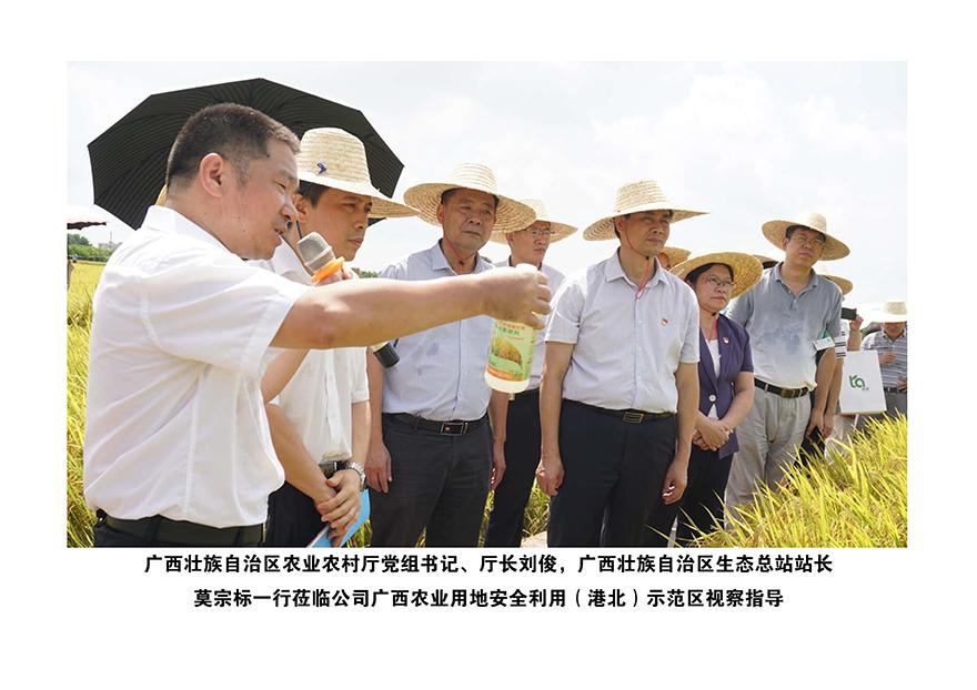 2020年广西壮族自治区农业农村厅党组书记、厅长刘俊、生态总站站长莫宗一行莅临广西农业用地安全利用(港北)示范区视察指导